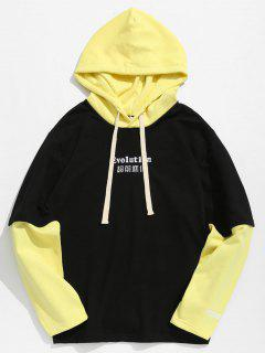 Drawstring Contract Color Hoodie - Corn Yellow L