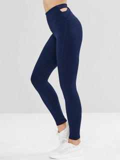 ZAFUL Criss Cross High Waisted Sports Leggings - Blue S