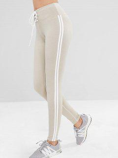 ZAFUL Lace Up Stripe Side Sports Leggings - Platinum L