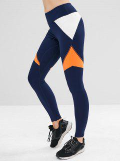 ZAFUL Color Block High Waisted Sports Leggings - Blue M