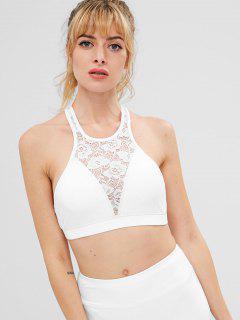 ZAFUL Floral Lace Bralette Sports Bra - White M