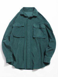 Graphic Patch Pocket Corduroy Shirt - Dark Forest Green M