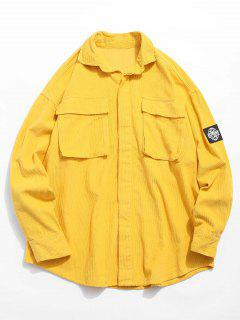 Graphic Patch Pocket Corduroy Shirt - Yellow M
