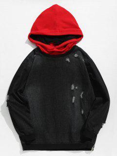 Ripped Pullover Denim Hoodie - Black M