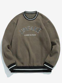 Letter Printing Crew Neck Pullover Sweatshirt - Army Brown L