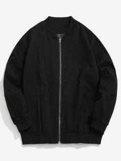 Round Graphic Patchwork Bomber Jacket - Black L