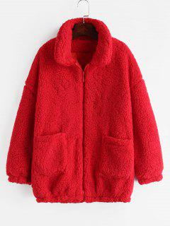 Fluffy Faux Fur Winter Teddy Coat - Red 2xl