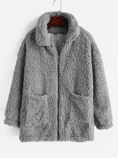 Fluffy Faux Fur Winter Coat - Light Gray L