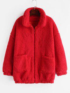 Fluffy Faux Fur Winter Teddy Coat - Red Xl