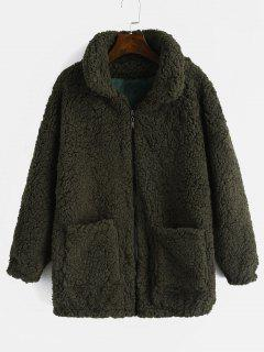 Fluffy Faux Fur Winter Teddy Coat - Army Green L