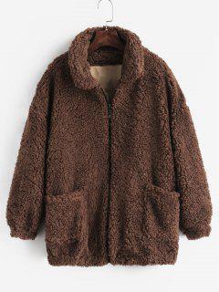 Fluffy Faux Fur Winter Teddy Coat - Coffee 2xl