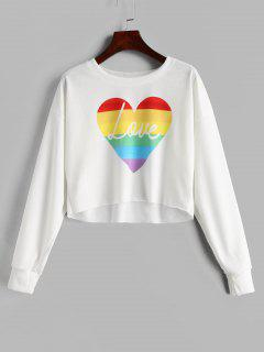 Drop Shoulder Graphic Cropped Sweatshirt - White S