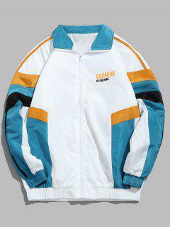 Zip Fly Gespleißte Farbe Hip Hop Jacke - Weiß L