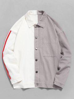 Two Tone Cat Graphic Stripe Trim Denim Jacket - White L