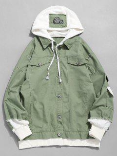 False Two Piece Ripped Design Hooded Jacket - Dark Sea Green L