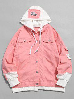 False Two Piece Ripped Design Hooded Jacket - Flamingo Pink Xl