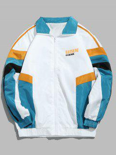Zip Fly Spliced Color Hip Hop Jacket - White Xl