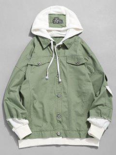 False Two Piece Ripped Design Hooded Jacket - Dark Sea Green Xl