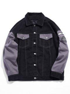 Embroidery Hit Color Denim Jacket - Gray 3xl