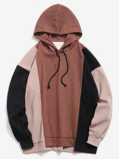 High Low Hem Color Block Hoodie - Coffee L