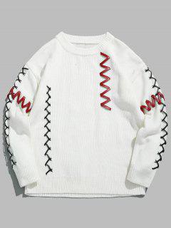 PU Belt Embellished Pullover Sweater - White L