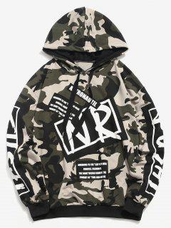 Letter Graphic Camo Hoodie - Camouflage Green L
