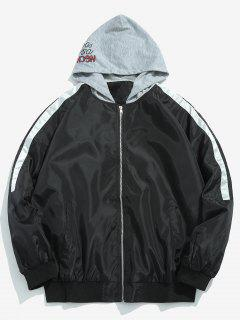 Veste à Capuche à Motif Graphique Zippé - Noir 2xl