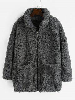 Fluffy Faux Fur Winter Teddy Coat - Gray L