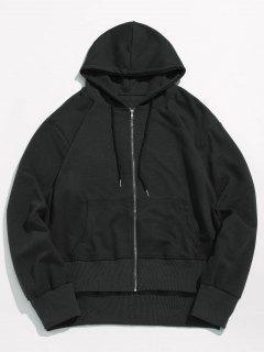 Solid Pocket Zip Jacket - Black L