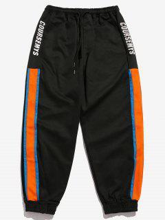 Side Letter Striped Splicing Jogger Pants - Black M