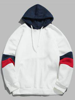 Drawstring Splicing Color Block Hoodie - Blanco M