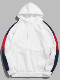 Color Block Sleeve Pullover Hoodie - White Xs