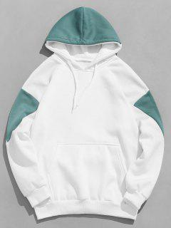 Patchwork Kanga Pocket Drawstring Hoodie - Medium Turquoise Xs