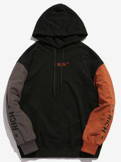 Embroidery Letter Contrasting Hoodie - Black Xs