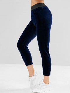ZAFUL Velvet High Waist Sweatpants - Midnight Blue L