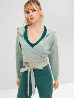 ZAFUL Drop Shoulder Wrap Short Hoodie - Blue Green M