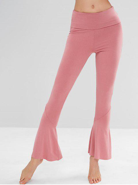 womens High Waisted Flare Yoga Pants - WATERMELON PINK L Mobile