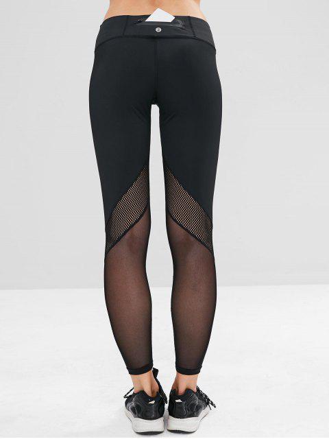 women's ZAFUL Perforated Mesh Panel Sports Leggings - BLACK S Mobile