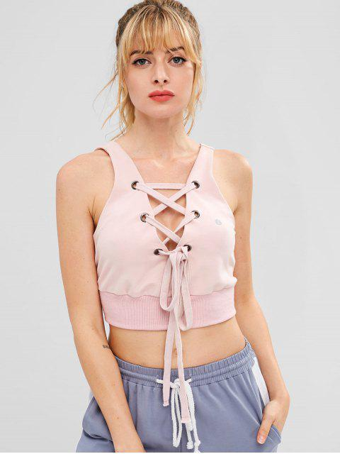 ZAFUL Lace Up Crop Tank Top - Rosado L Mobile