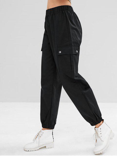 latest Sports Cargo Jogger Pants - BLACK L Mobile