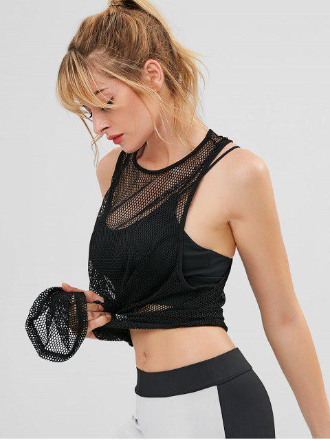 chic Racerback Fishnet Sports Tank Top - BLACK M Mobile