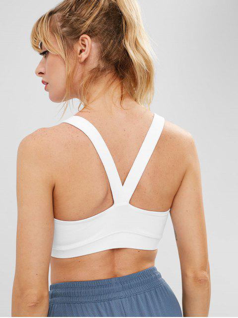 Y Back Sports Gym Bra - Blanco S Mobile