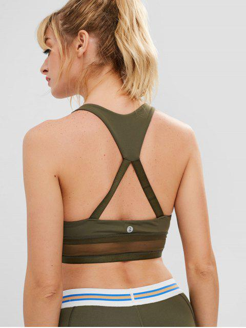 latest ZAFUL Mesh Insert Cutout Racerback Sports Bra - GREEN L Mobile