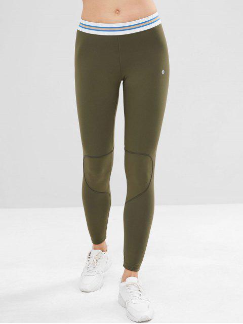 trendy ZAFUL Striped Stitching Sports Leggings - GREEN S Mobile