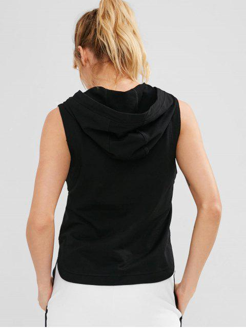 affordable ZAFUL Sleeveless High Low Hoodie - BLACK L Mobile