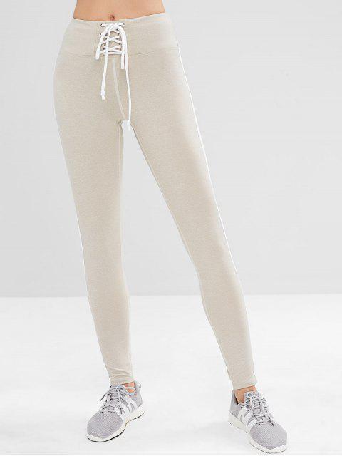 ZAFUL Lace Up Stripe Side Leggings deportivos - Platino M Mobile