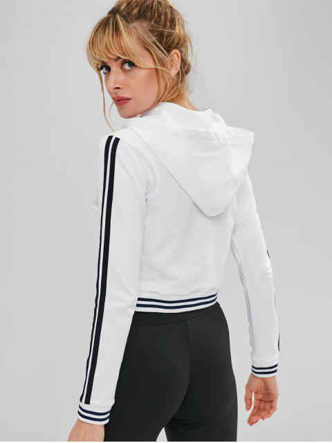 womens ZAFUL Striped Lace Up Crop Hoodie - WHITE S Mobile