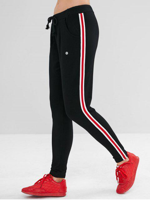 lady ZAFUL Striped Side Drawstring Pencil Pants - BLACK M Mobile