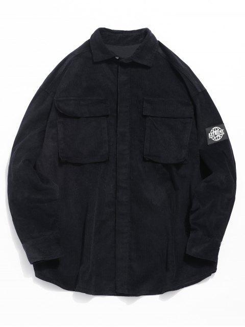 Grafisches Aufnäher Cord Cord Shirt - Schwarz L Mobile