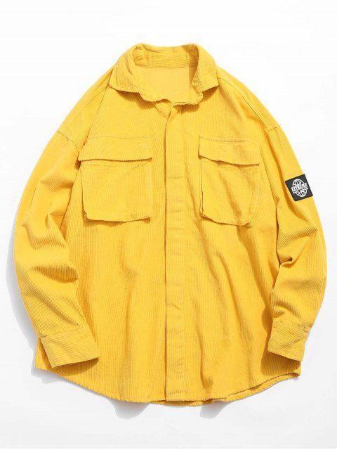 Grafisches Aufnäher Cord Cord Shirt - Gelb M Mobile